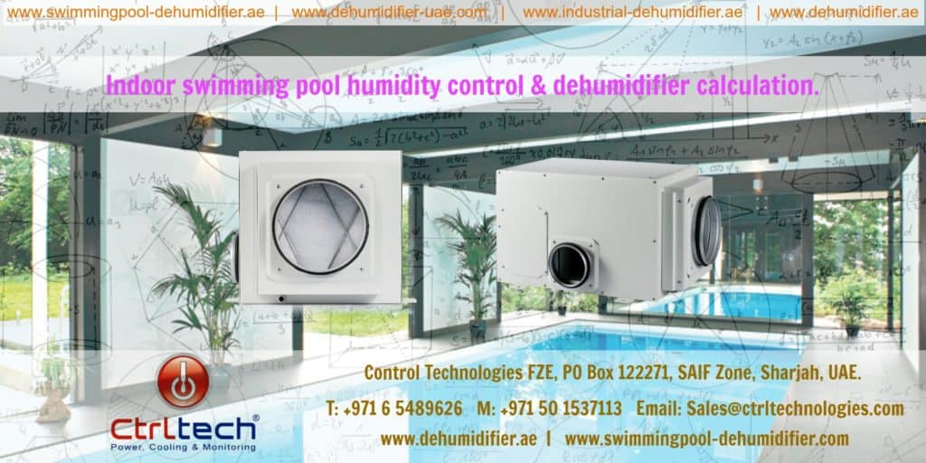 Indoor pool dehumidifier calculation for humidity control.