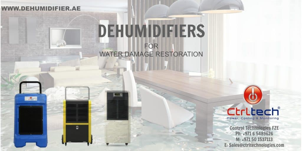 Dryer, dehumidifier and air movers for damage restoration.
